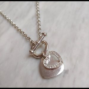 Jewelry - Heart Charm Toggle Necklace Silver Tone